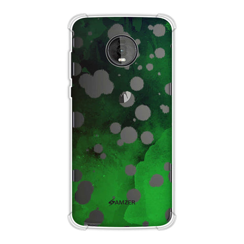 Dalmatian - White Brushed Polka Spots On Green Watercolour Soft Flex Tpu Case For Motorola Moto Z4