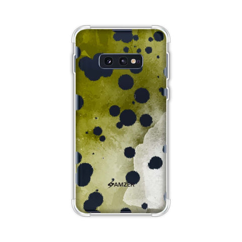 Dalmatian - White Brushed Polka Spots On Olive Watercolour Soft Flex Tpu Case For Samsung Galaxy S10e