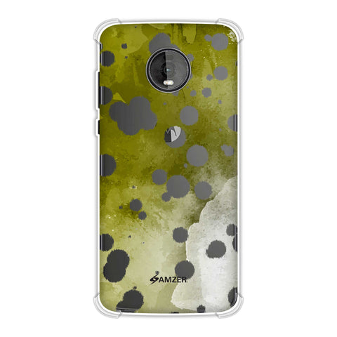 Dalmatian - White Brushed Polka Spots On Olive Watercolour Soft Flex Tpu Case For Motorola Moto Z4