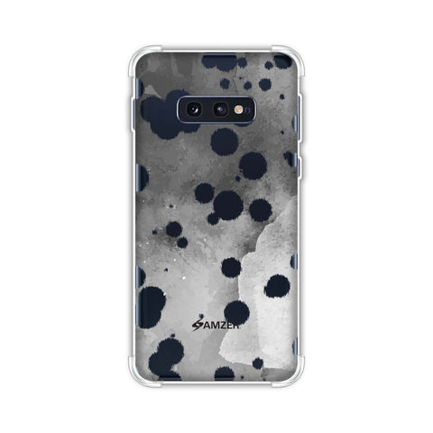 Dalmatian - Black Brushed Polka Spots On Grey Watercolour Soft Flex Tpu Case For Samsung Galaxy S10e