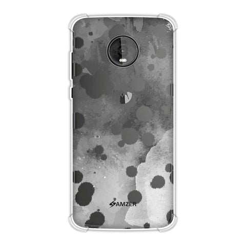 Dalmatian - Black Brushed Polka Spots On Grey Watercolour Soft Flex Tpu Case For Motorola Moto Z4