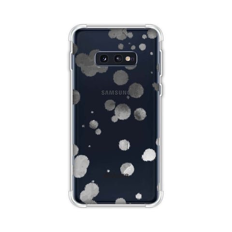 Dalmatian - Grey Brushed Polka Spots On White Soft Flex Tpu Case For Samsung Galaxy S10e