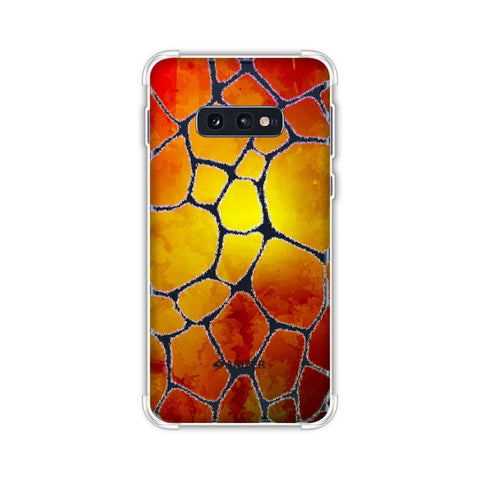 Giraffe - White Brushed Scales With Organic Burnt Watercolour Soft Flex Tpu Case For Samsung Galaxy S10e