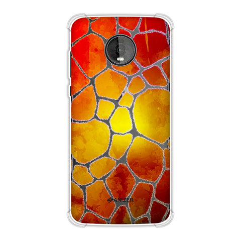 Giraffe - White Brushed Scales With Organic Burnt Watercolour Soft Flex Tpu Case For Motorola Moto Z4