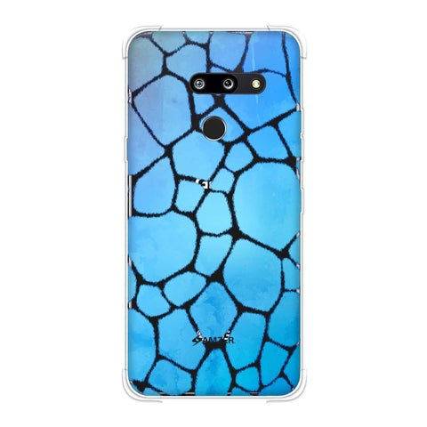 Giraffe - Blue Brushed Scales With Aqua Watercolour Soft Flex Tpu Case For LG G8 ThinQ