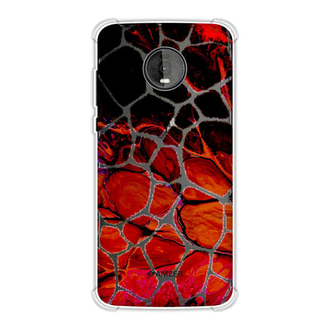 Giraffe - White Brushed Scales With Fired Marble Finish Effect Soft Flex Tpu Case For Motorola Moto Z4