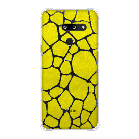Giraffe - Blue Brushed Scales With Yellow Scratched Effect Soft Flex Tpu Case For LG G8 ThinQ