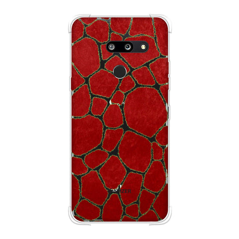 Giraffe - Light Green Brushed Scales With Red Scratched Effect Soft Flex Tpu Case For LG G8 ThinQ