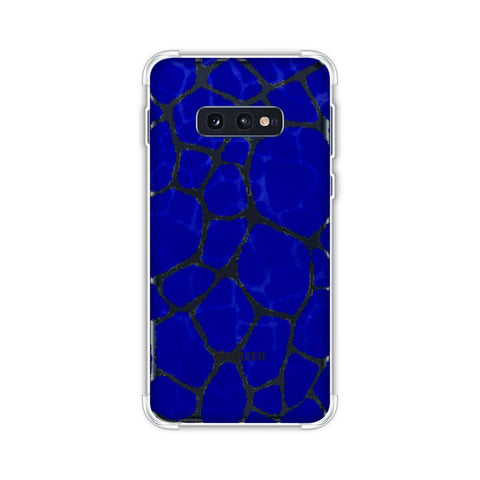 Giraffe - Yellow Brushed Scales On Blue Pattern Overlap Soft Flex Tpu Case For Samsung Galaxy S10e