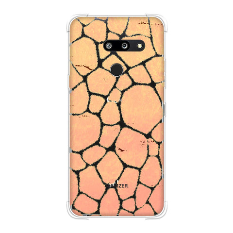 Giraffe - Beige Brushed Scales With Peach Grunge Whip Soft Flex Tpu Case For LG G8 ThinQ