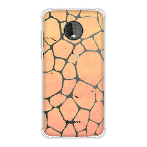 Giraffe - Beige Brushed Scales With Peach Grunge Whip Soft Flex Tpu Case For Motorola Moto Z4