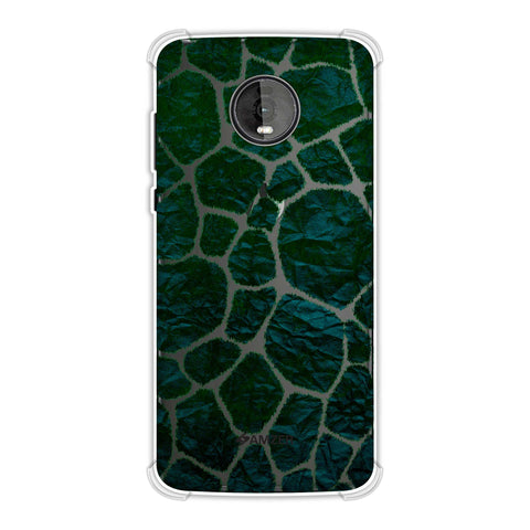 Giraffe - Green Brushed Scales With Bottle Green Crushed Paper Effect Soft Flex Tpu Case For Motorola Moto Z4