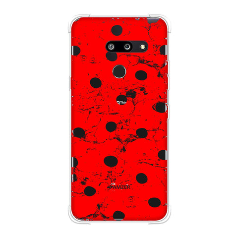Lady Bug - Red And Black Grunged Dots Soft Flex Tpu Case For LG G8 ThinQ