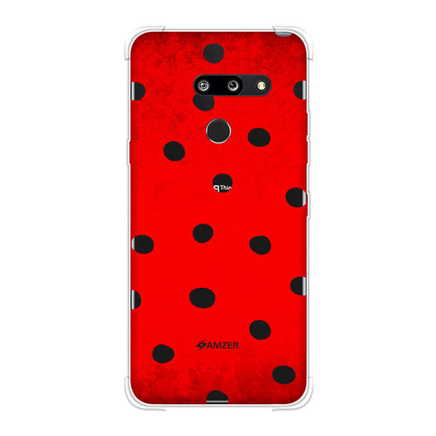 Lady Bug - Black Dots On Red Bleached Base Soft Flex Tpu Case For LG G8 ThinQ