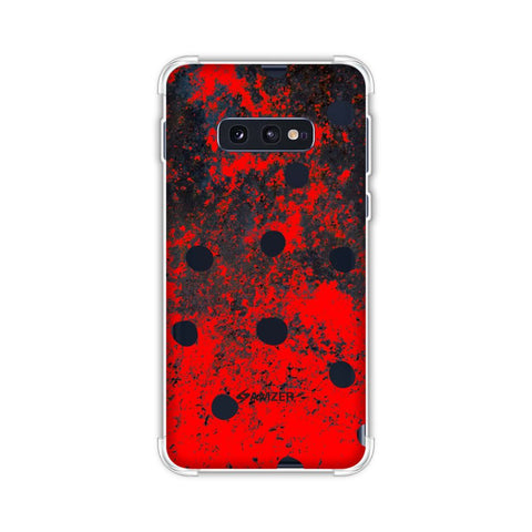 Lady Bug - Black Dots On Grey Lava Plastered Effect Soft Flex Tpu Case For Samsung Galaxy S10e