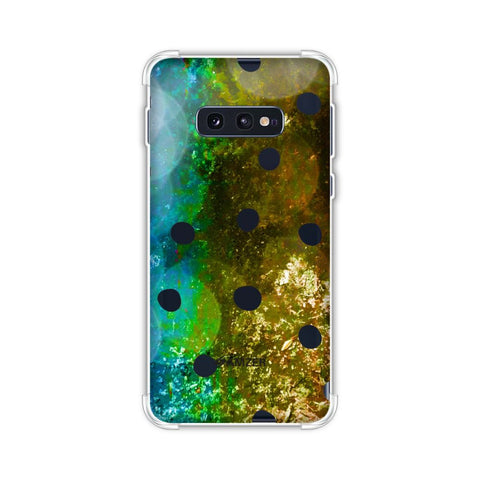 Lady Bug - Black Dots On Blue And Gold Glitter Crushed Starry Lights Soft Flex Tpu Case For Samsung Galaxy S10e