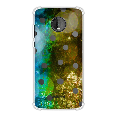 Lady Bug - Black Dots On Blue And Gold Glitter Crushed Starry Lights Soft Flex Tpu Case For Motorola Moto Z4