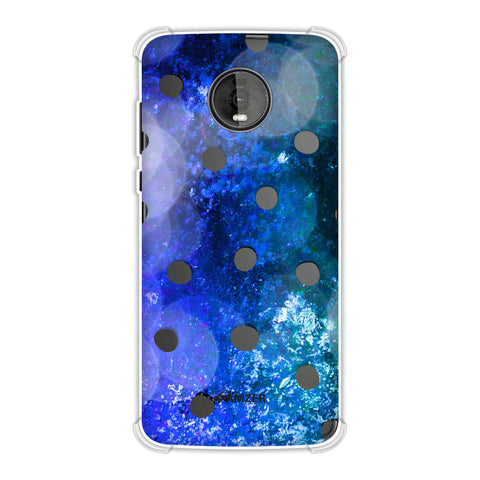 Lady Bug - Black Dots On Blue Glitter Crushed Starry Lights Soft Flex Tpu Case For Motorola Moto Z4