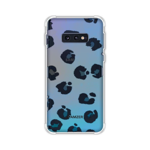 Leopard - Brushed Black Spots With Aqua Watercolour Effect Soft Flex Tpu Case For Samsung Galaxy S10e