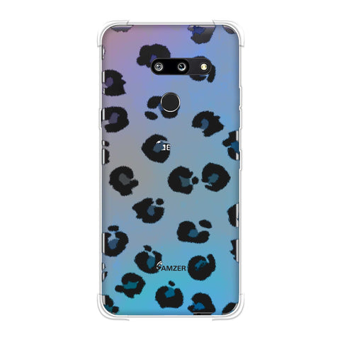 Leopard - Brushed Black Spots With Aqua Watercolour Effect Soft Flex Tpu Case For LG G8 ThinQ