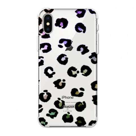 Leopard - Grunge Multicolour Spots On White Soft Flex TPU Case For Apple iPhone Xs Max