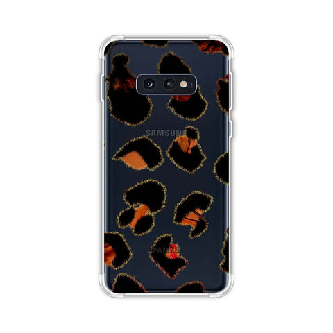 Leopard - Brushed Spots With Peach Marble Effect Soft Flex Tpu Case For Samsung Galaxy S10e