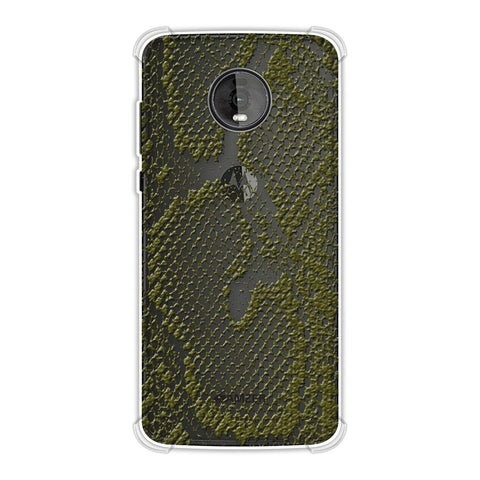 Snakes - Olive Green Skin Soft Flex Tpu Case For Motorola Moto Z4