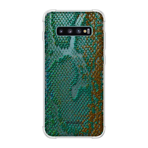 Snakes - Green And Gold Ombre Skin Soft Flex Tpu Case For Samsung Galaxy S10 Plus