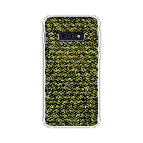 Zebra - Olive And Yellow Hexagon Stripes Hair Effect Soft Flex Tpu Case For Samsung Galaxy S10e