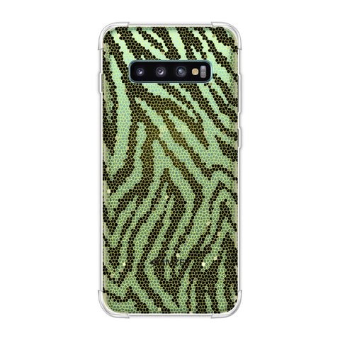 Zebra - Olive And Yellow Hexagon Stripes Hair Effect Soft Flex Tpu Case For Samsung Galaxy S10 Plus