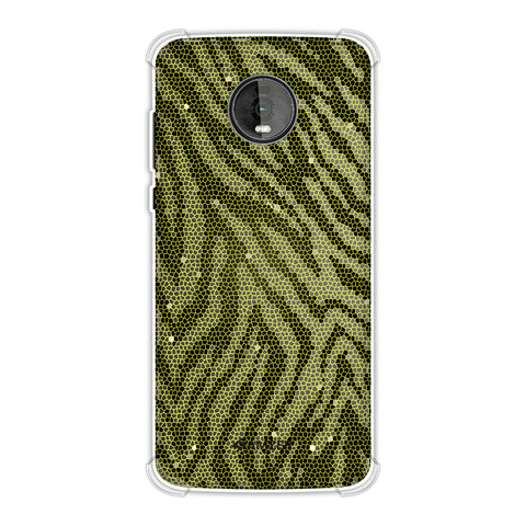 Zebra - Olive And Yellow Hexagon Stripes Hair Effect Soft Flex Tpu Case For Motorola Moto Z4