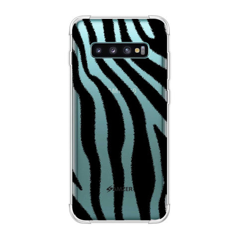 Zebra - Black And White Brushed Stripes Hair Effect Soft Flex Tpu Case For Samsung Galaxy S10 Plus