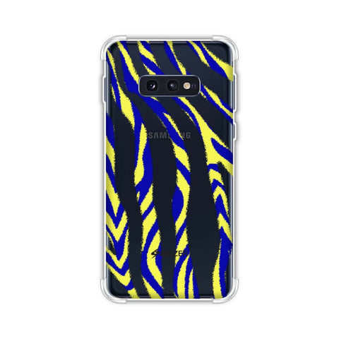 Zebra - Black, Yellow And Blue Stripes Hair Overlap Pattern Soft Flex Tpu Case For Samsung Galaxy S10e