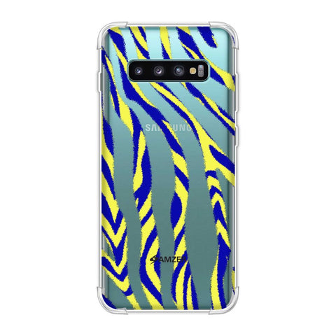 Zebra - Black, Yellow And Blue Stripes Hair Overlap Pattern Soft Flex Tpu Case For Samsung Galaxy S10 Plus