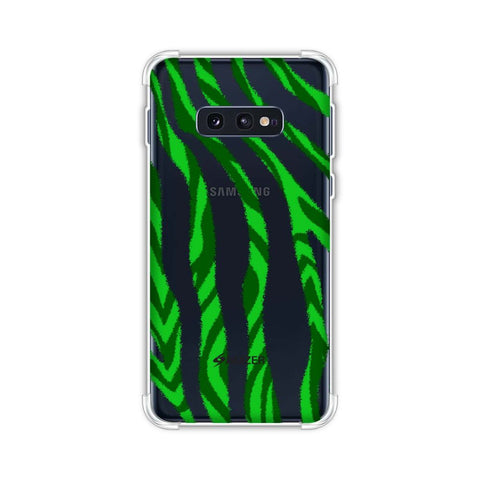 Zebra - Black And Green Stripes Hair Overlap Pattern Soft Flex Tpu Case For Samsung Galaxy S10e