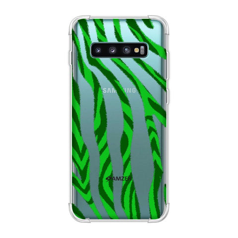 Zebra - Black And Green Stripes Hair Overlap Pattern Soft Flex Tpu Case For Samsung Galaxy S10 Plus