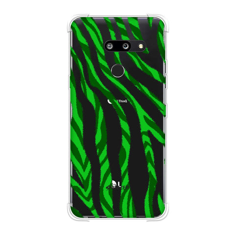 Zebra - Black And Green Stripes Hair Overlap Pattern Soft Flex Tpu Case For LG G8 ThinQ