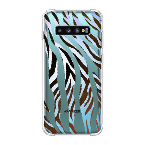 Zebra - Brown And Watercolour Stripes Hair Overlap Pattern Soft Flex Tpu Case For Samsung Galaxy S10 Plus
