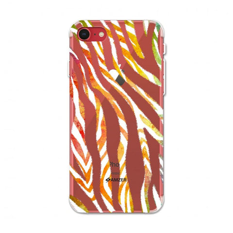 Zebra - Black And Organic Watercolour Stripes Hair Overlap Pattern Soft Flex Tpu Case For iPhone SE 2020