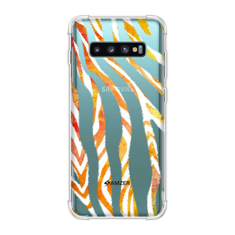 Zebra - Black And Organic Watercolour Stripes Hair Overlap Pattern Soft Flex Tpu Case For Samsung Galaxy S10 Plus