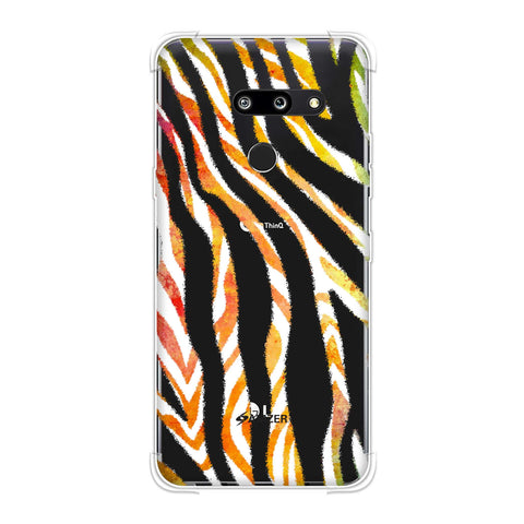 Zebra - Black And Organic Watercolour Stripes Hair Overlap Pattern Soft Flex Tpu Case For LG G8 ThinQ