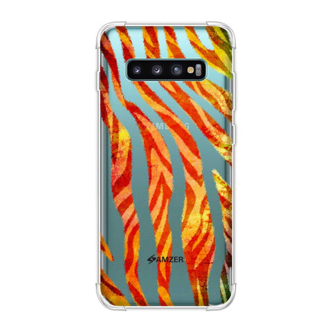 Zebra - Black And Organic Rainbow Stripes Hair Overlap Pattern Soft Flex Tpu Case For Samsung Galaxy S10 Plus