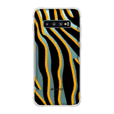 Zebra - Mustard, White And Black Brushed Stripes Hair Effect Soft Flex Tpu Case For Samsung Galaxy S10 Plus