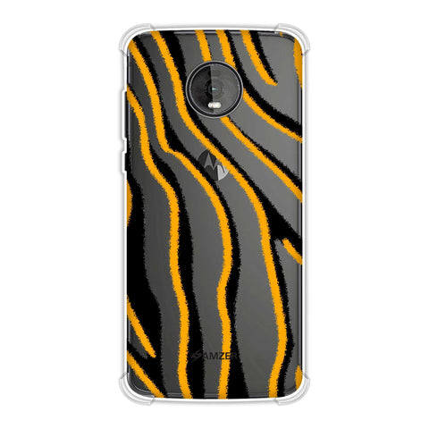 Zebra - Mustard, Pink And Black Brushed Stripes Hair Effect Soft Flex Tpu Case For Motorola Moto Z4