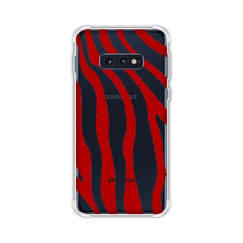 Zebra - Pink And Red Brushed Stripes Hair Effect Soft Flex Tpu Case For Samsung Galaxy S10e