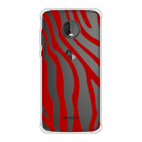 Zebra - Pink And Red Brushed Stripes Hair Effect Soft Flex Tpu Case For Motorola Moto Z4