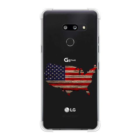 USA Flag Cutout - Wooden Texture Soft Flex Tpu Case For LG G8 ThinQ