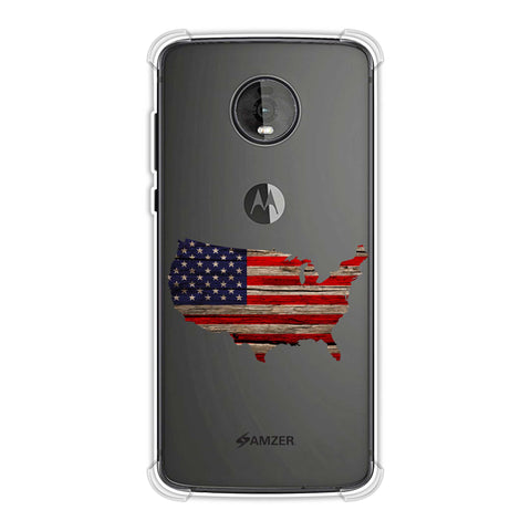 USA Flag Cutout - Wooden Texture Soft Flex Tpu Case For Motorola Moto Z4