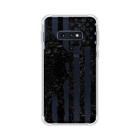 USA Flag - Soldier - Monochrome Soft Flex Tpu Case For Samsung Galaxy S10e