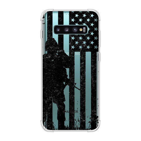 USA Flag - Soldier - Monochrome Soft Flex Tpu Case For Samsung Galaxy S10 Plus